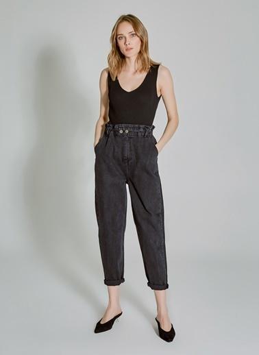 People By Fabrika Beli Lastik Detaylı Slouchy Pantolon Siyah